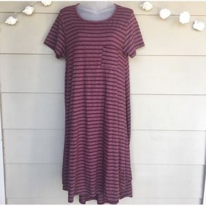 LuLaRoe • Maroon Striped Carly Dress